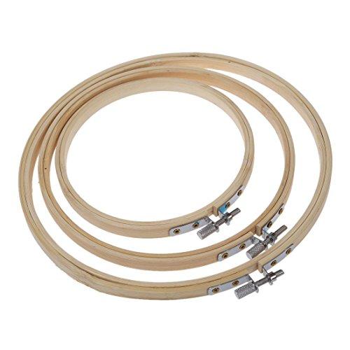 TOOGOO(R) Legno a punto croce ricamo del cerchio dell'anello 13 cm / 17 cm / 20cm