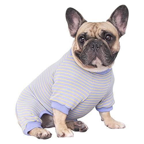 iChoue 100% Cotton Dog Pajamas Onesie Suit PJS Bodysuit for Medium Sized Dog French Bulldog Frenchie Pug English Pitbull Boston Terrier Purple - L