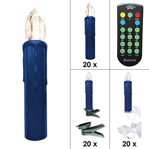 Kabellose LED Weihnachtskerzen Christbaumkerzen Deluxe mit Fernbedienung, Batterien, Dimmer & Timer (1 bis 12 Std) - viele Farben wählbar - Weihnachtsbaumbeleuchtung (20er Set Blau)