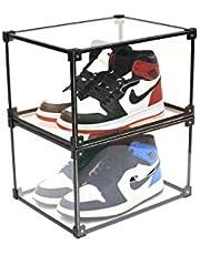 Mplerven Schoenbox transparant acryl stapelbare schoen opbergdoos, heren en dames schoenen opbergdoos (2PCS)