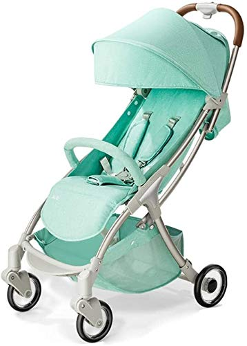 LAMTON Baby Stroller for Newborn, 4 Wheel Baby Stroller Lightweight High Landscape Travel System Foldable with Shock Absorbers from Birth, 40x100cm (Color : Green) LAMTON Adjustable handlebars for people of all heights can adjust the most comfortable push position Easy to fold, can be picked up in the trunk of the car, his parents urge him to go shopping, travel, walk, play and talk, or picnic outdoors ★ Aluminium alloy frame, sturdy, lightweight, durable, easy to store and travel 1