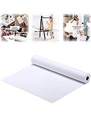 SYZOPQ Rouleau De Papier Blanc, 43cm x 10m, Rouleau De Papier Kraft Blanc, Idéal pour Le Papier Chevalet, Le Papier pour Tableau D'affichage, l'art Mural, Le Papier d'emballage