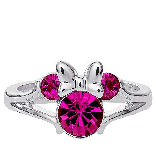 Disney Minnie Mouse - Anillo de cabeza de cristal chapado en plata, talla 4 rosa