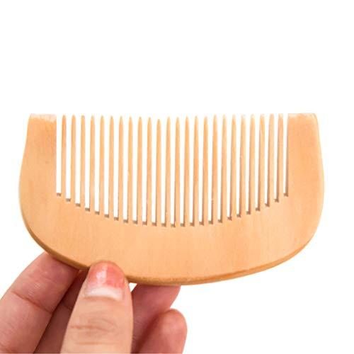 WE-WHLL 1 Pc 8.7 cm Naturel Pêche Bois Épaissi Courbé Poche Cheveux Peigne De Massage Anti-Statique À Dents Fines Salon Styling Outil Coiffure Barbiers Poignée Brosse