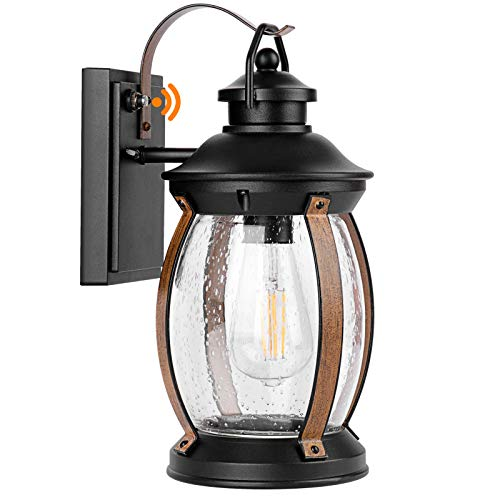 CINOTON Outdoor Wall Light, IP65 Waterproof Outdoor Light Fixtures Wall Mount Dusk to Dawn, Porch Light with Seeded Glass Shade, E26 Socket Exterior Wall Sconce Lighting, Wall Lamp for Garage, Porch