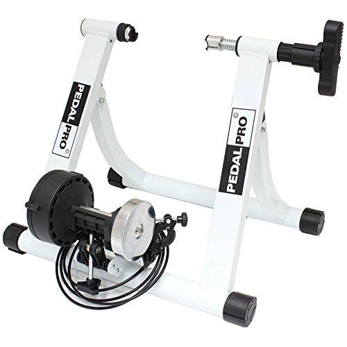 PedalPro MK II - Rollentrainer für Fahrrad - magnetischer Widerstand - verstellbar - Weiß