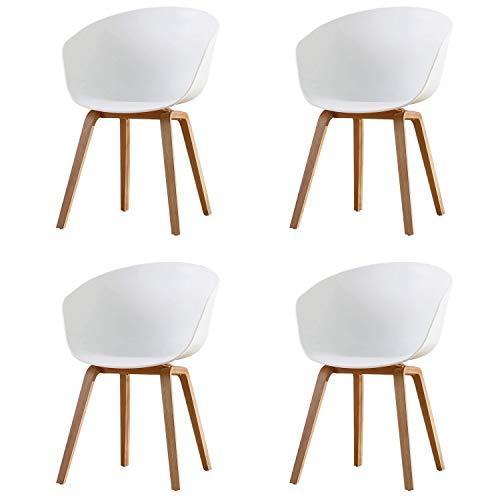 Naturelifestore 4er Set Esszimmerstuhl Scandinavian Sessel Beistellstuhl Retro-Design mit Soliden Metallbeinen, Weiß