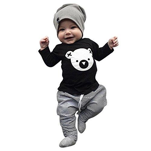 BBSMLIN Ropa Bebe Recien Nacido Ni/ño Invierno Oto/ño 0-24 Meses Bodies de Manga Larga Pantal/ón a Cuadros