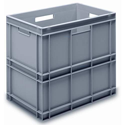 utz Euro-Stapelbehälter aus lebensmittelechtem PP - Traglast 20 kg, silbergrau - Inhalt 100 l, Außenhöhe 545 mm, VE 2 Stk - Alu-Schaukasten Alu-Schaukästen Behälter Behälter aus Kunststoff EUR-Stapelbehälter Euro-Stapelbehälter Kiste Kisten Lagerbehä