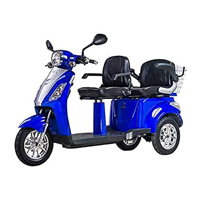 VELECO Electric Mobility Scooter for Two Double Seat ZT-18 1000W Two Storage Compartments (Blue)