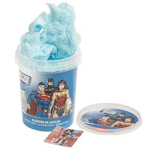 Liga de la Justicia (Batman, Superman y la Mujer Maravilla) - Algodón de Azúcar con Sticker - Color Azul - Sin Gluten - 30 g