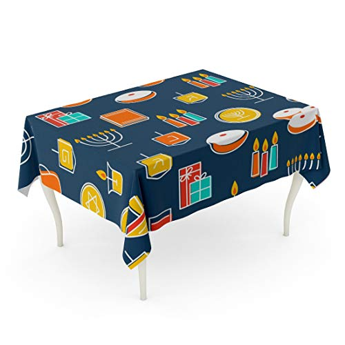Tarolo Rectangle Tablecloth 60 x 84 Inch Hanukah Symbols Candles Menorah and Donuts for Holiday Chanukah Dreidel Outline Table Cloth