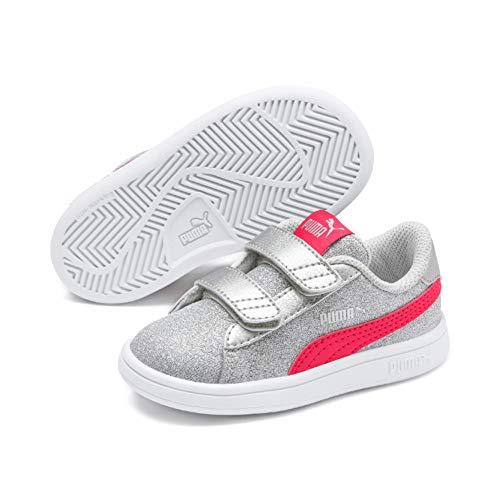 Puma Smash V2 Glitz Glam V Inf', Sneaker Bambina, Grigio Silver-Nrgy Rose-Gray Violet, 23 EU