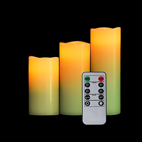 OxoxO Flameless Candle battery Opera Ted LED flicke Anillo Real Wax Pillar Candle Auto de Off Timer 10Key Remote Control–3Pack (H 4'5' 6'x d 2.2), 3pcs 4'-6' Wavy