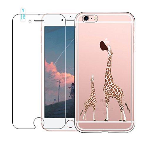 iPhone 6 / 6S Custodia [con Vetro Temperato Screen Protector Film] [Bellissimo Modello] Blossom01 Cover Ultra Sottile in Gel Morbido TPU Silicone Case per iPhone 6 / 6S - Giraffa