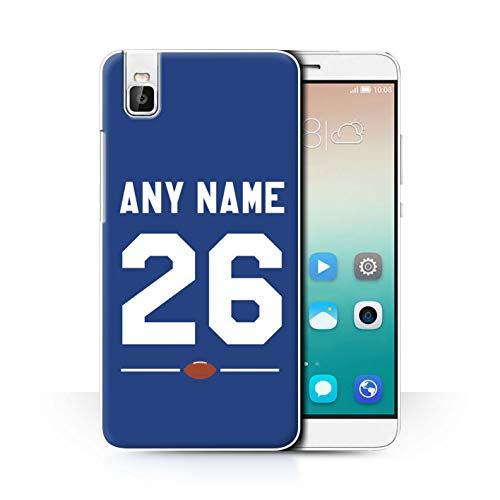 eSwish Personalisiert Persönlich Amerikanischer Fußball Jersey Hülle für Huawei Honor 7i/ShotX/Königsblau Design/Initiale/Name/Text Schutzhülle/Hülle/Etui