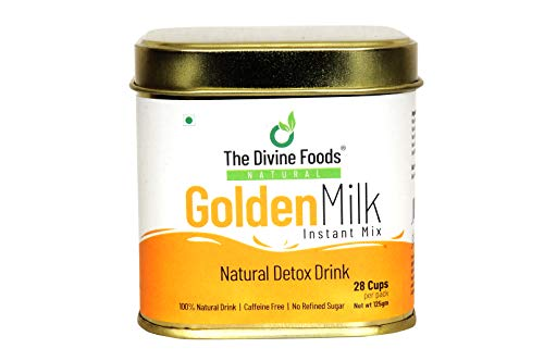 The Divine Foods Golden Milk Instant Mix | Natural Detox Drink with High Curcumin | Turmeric Latte Hot or Iced | Haldi Tea | Antioxidant & Anti-Inflammatory Turmeric Drink (28cups)