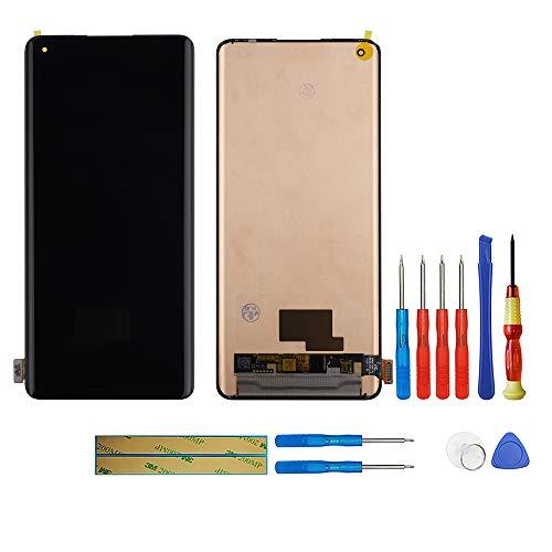 swark AMOLED compatible con OnePlus 8 Pro IN2023, IN2020, IN2021, IN2025 (negro sin marco), pantalla táctil, digitalizador, cristal de montaje + herramientas