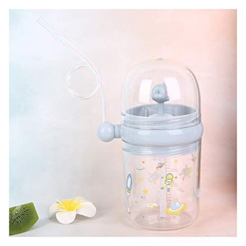 Dingyue Lindo ballena agua spray taza verano plástico niños paja agua taza gota resistente estudiante jarra linda botella para niño