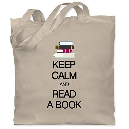 Shirtracer Keep calm - Keep calm and read a book - Unisize - Naturweiß - jutebeutel books - WM101 - Stoffbeutel aus Baumwolle Jutebeutel lange Henkel