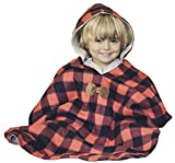 Kids Car Seat Poncho Toddler Boy Blanket Lumberjack Deer Reversible Warm Safe Use OVER Seat Belts Buffalo Plaid