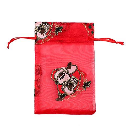 50 Uds., Bolsa de regalo de organza con cordón de Navidad, bolsas de regalo de chocolate con concha de caramelo para boda-07_10X15
