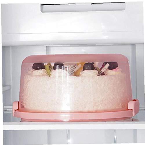DierCosy Tools Pastel de plástico Disco con Cubierta, portátil Soporte de la Torta Redonda con Tapa, Tomar una Bandeja para Servir con el Bloqueo de la manija