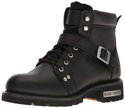 "RIDETECS Men's 6"" Motorcycle Boot, Inside Zipper, Leather, Goodyear Welt, Black, 10 M US"