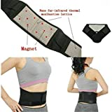 air-SMART Men Women Self-Heating Magnetic Therapy Belt Posture Corrector Waist Support Magnetic Lumbar Back Brace Belt (Black, S)