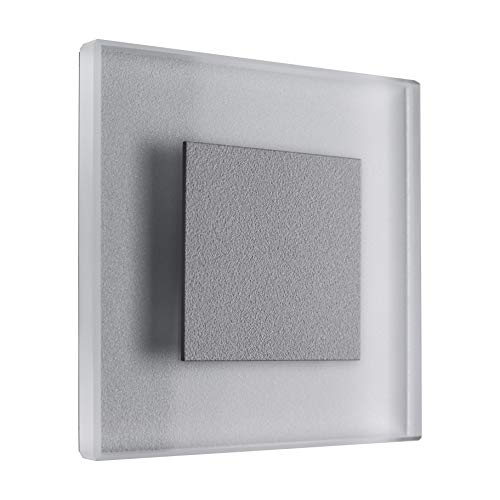 Éclairage Sun LED pour escalier, blanc froid, 230 V 1 W, en verre véritable, lampe pour escalier, applique murale encastrable, éclairage pour marches, Alu: Silbergrau, 7er Set