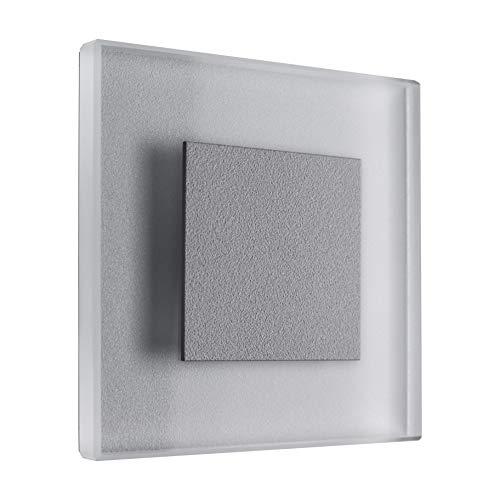 LED Treppenbeleuchtung Premium SunLED Small 230V 1W Echtes Glas Wandleuchten Treppenlicht mit Unterputzdose Treppen-Stufen-Beleuchtung Wand-Einbauleuchte (ALU: Silbergrau; LICHT: Warmweiß, 7 Stück)