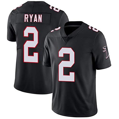 HYQ Camiseta Rugby Masculino, NFL Atlanta Falcons, Deportes Polo de Manga Corta Camiseta Traje Bordado Superior de Malla Transpirable Formación,Black#2,L=52