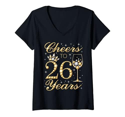 Mujer Saludos a 26 aos, cumpleaos de la 26 Reina, 26 aos Camiseta Cuello V