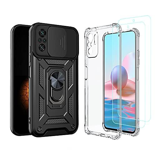 [2 Pack] Funda para Xiaomi Redmi Note 10 4G/Note 10S + Protector de Pantalla Cristal Templado, Carcasa Negra con Ventana Protector de Cámara con Soporte y Transparente Silicona TPU Case Antigo