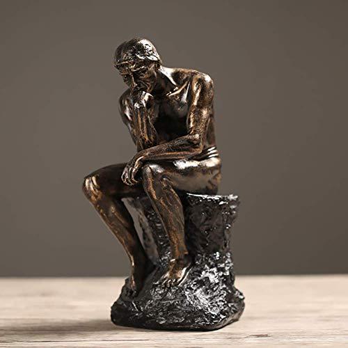 LKJH The Thinker Statue Home Decor, Rodin Nude Male Figure Thinking Man Sculture Artigianato d'Arte retrò per Studio Regali per Ufficio Desktop Golden 26x14x11cm (10x6x4inch)
