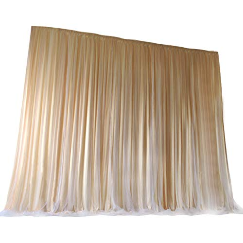 TINTON LIFE 9.9ft x 9.9ft Two Layers Tulle Backdrop Curtains for Party Wedding Baby Shower Birthday Decorations Photography Backdrop Christmas Background Decor Champagne