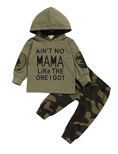 Ttkgyoe Abbigliamento Baby Boy Set di Felpe con Cappuccio e Pantaloni mimetici a Maniche Lunghe Stampate a Maniche Lunghe di Lady Killer