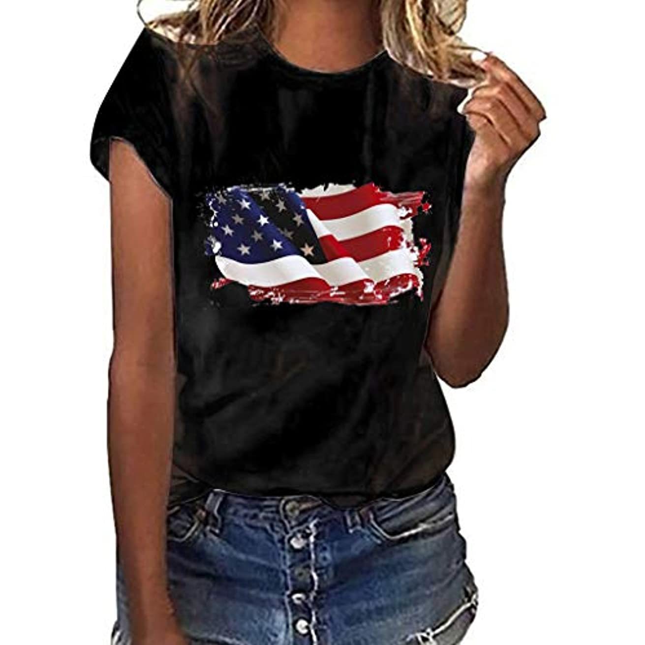 SSYUNO Womens Casual American Flag Patriotic Tops Basic Summer T-Shirt Independence Day