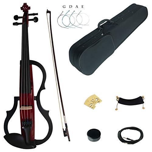 Kinglos 4/4 Colorato In Legno Massello 3-Band-EQ Elettrica/Silenzioso Violino Kit Raccordi Ebano - SDDS1803