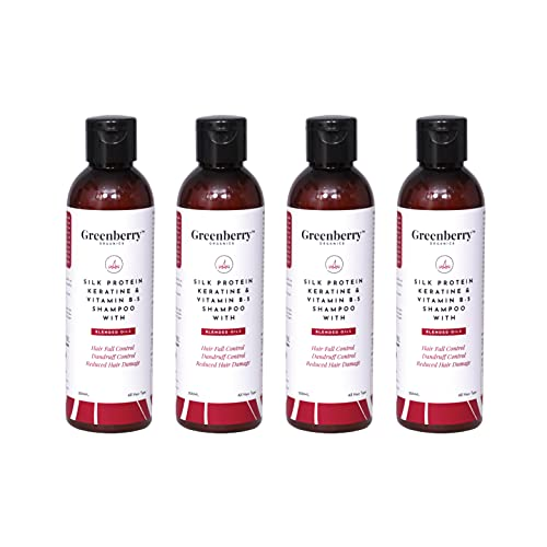 Greenberry Organics Silk Protein, Keratin & Vitamin B-5 Shampoo with Blended Oils for Hair Fall Control, Dandruff Control, Reduced Hair Damage - 200 ML Pack Of 4
