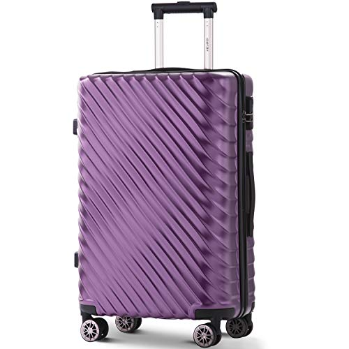 Nyyi Merax Hard Shell Cabin Luggage, 4 Wheel Spinner Lightweight Suitcase, Travel Trolley Case, |with Lock(L-28, Purple)