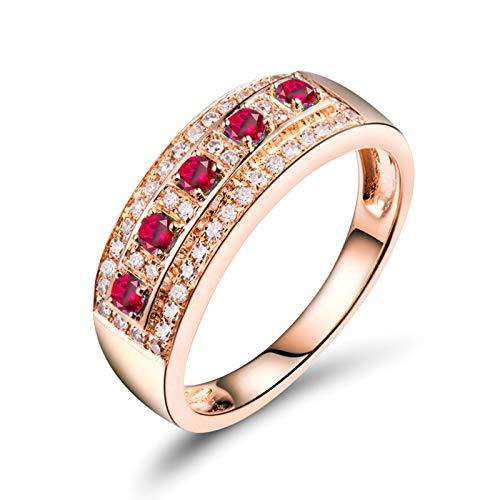 AnazoZ Anillos Mujer Rubi,Anillos de Boda de Oro Rosa de 18 Kilates Oro Rosa y Rojo Redondo Rubí Rosa Roja 0.15ct Diamante 0.21ct Talla 26