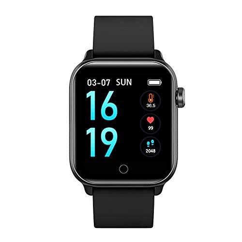 Slimme Horloge met Thermometer Functie, Grote Touch Screen Smartwatch Fitness Trackers Met Hartslag en Bloeddruk Monitor, IP68 Waterdichte Stappenteller Smart Armband voor Mannen Vrouwen