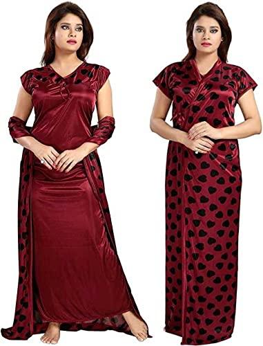 FACHARA Women's Satin Solid Gold Collection Maxi Full-Length Nighty/Night Wear/Sleep...