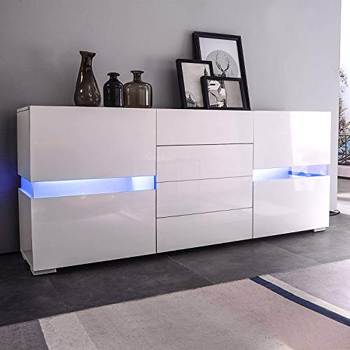 mecor-Sideboard-Cabinet-Buffet-wLED-Light-Kitchen-LED-Storage-Cabinet-Server-Console-Table-High-Gloss-w-2-Doors-4-Drawers-White