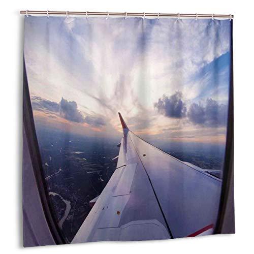 Throwpillow Duschvorhang,Flugzeug Reisezeit ist Sonnenuntergang Business Ferne Abend Float Holiday Journey,wasserdicht hochwertige Qualität Duschvorhänge inkl 12 Ringe