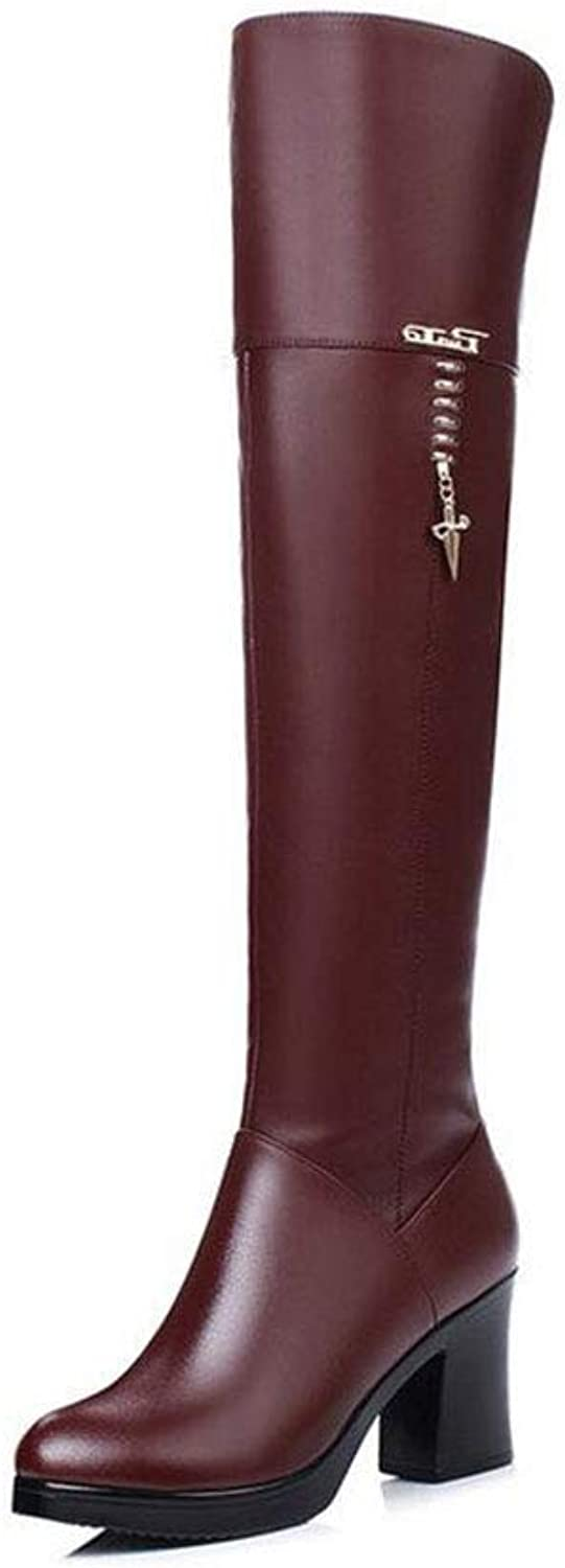 Women's shoes, Microfiber Fall & Winter Fashion Boots Boots Crude Heel Round Toe Over The Knee Boots Black Party & Evening (color   Wine red, Size   42)