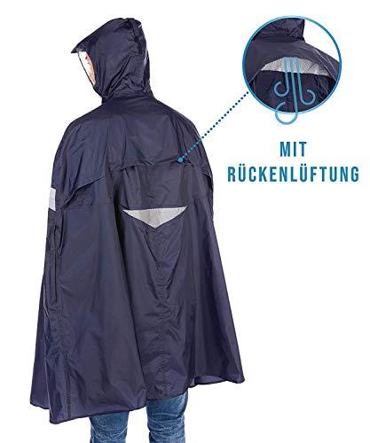 HOCK Premium Fahrrad Regenponcho 'Super Praktiko' mit Lüftung und seitlicher Armöffnung – 100,0% Wasserdichter Fahrradponcho für Herren & Damen (Blau, L) - 3