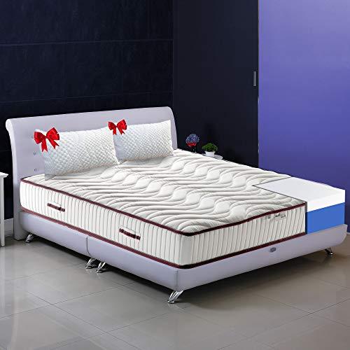 Memory Nature - Colchón ortopédico de 20 cm de altura y 4 cm de memoria + almohadas y tejido resistente, hipoalergénico, colchón extraíble apto para cualquier somier, plaza y media, 125 x 190 cm