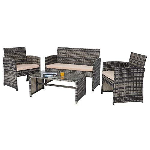 VONLUCE 4 Piece Outdoor Patio Furniture Set, PE Rattan Wicker Conversation Set with Sofa 2 Chairs Glass Top Coffee Table for Patio Decor, Outdoor Furniture Set with Thick Cushions, Charcoal and Beige